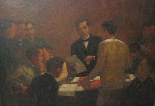 Ang pagtatatag ng La Liga Filipina.  Mula sa Koleksyon ng Komisyong Pangkasaysayan ng Pilipinas sa Dambanang Rizal sa Fort Santiago.