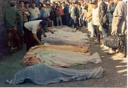 Ilan sa mga namatay sa Lungsod ng Baguio noong lindol ng July 16, 1990.   Mga larawan na nagmula sa Baguio Midland Courier, makikita sa http://www.cityofpines.com/baguioquake/quake.html.