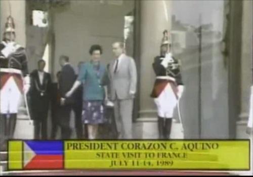 Si Pangulong Corazon Aquino ng Pilipinas ang tanging bisita ng Estado ng Pransiya noong ika-200 taon ng Himagsikang Pranses.  Mula sa EDSA:  The World Remembers.
