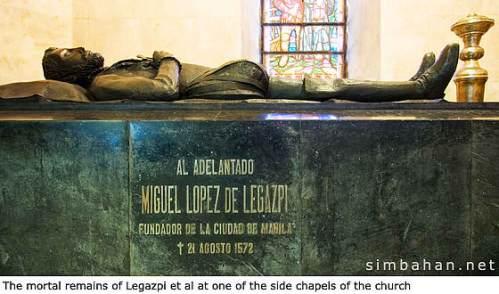 Ang libingan ni Legazpi at iba pang mga personahe sa San Agustin Church.