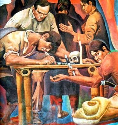 """Pakikipagsandugo sa Katipunan.  Mula sa mural na """"History of Manila"""" ni Carlos """"Botong"""" Francisco.  Nasa Bulwagang Katipunan ng City Hall ng Maynila."""