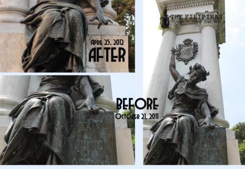 Ang dating kinalalagyan ng plake at ang estatwa ngayon sa ilalim ng Legazpi-Urdaneta monument noong wala na ito.  Pati daliri nawala.  Kaloka.  Mula sa nostalgiafilipinas.blogspot.com.