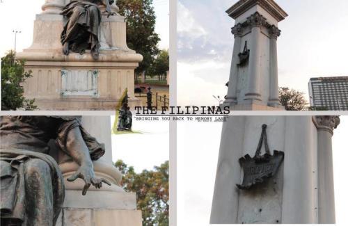 Ang monumento ni Legazpi at Urdaneta ay unti-unting kinikilo.   Mula sa nostalgiafilipinas.blogspot.com.