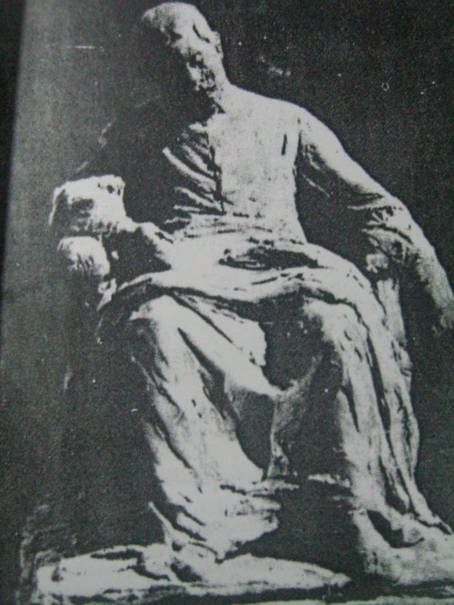 Ang pagkamatay ni del Pilar sa paglilok ni Guillermo Tolentino.  Mula kay Antonio Valeriano.