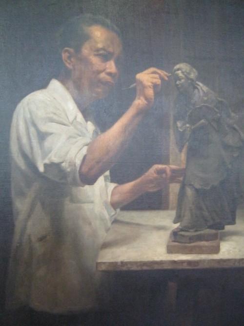 The Sculptor (Portrait of Guillermo E. Tolentino).  Obra ni Cripin V. Lopez, 1958. Mula sa Pambansang Tipunan ng Sining ng Pambansang Museo ng Pilipinas.
