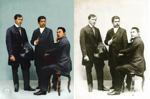 Kinulayang bersyon ng sikat na larawan ng tatlong repormista:  Rizal, del Pilar at Ponce.  Mula sa Tanggapan ng Pangulo ng Pilipinas.