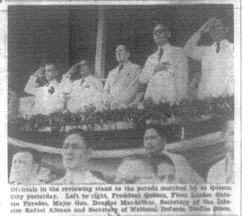 Commonwealth Day in new Quezon City, November 15, 1940.  From the Manila Bulletin microfilm of the University of the Philippines Main Library.