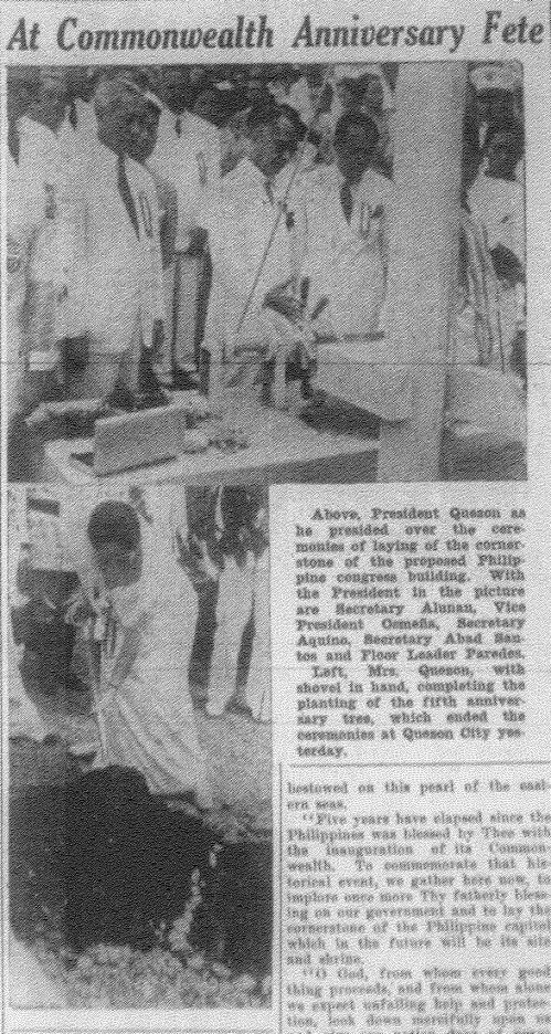 Commonwealth Day in new Quezon City, November 15, 1940.From the Manila Bulletin microfilm of the University of the Philippines Main Library.