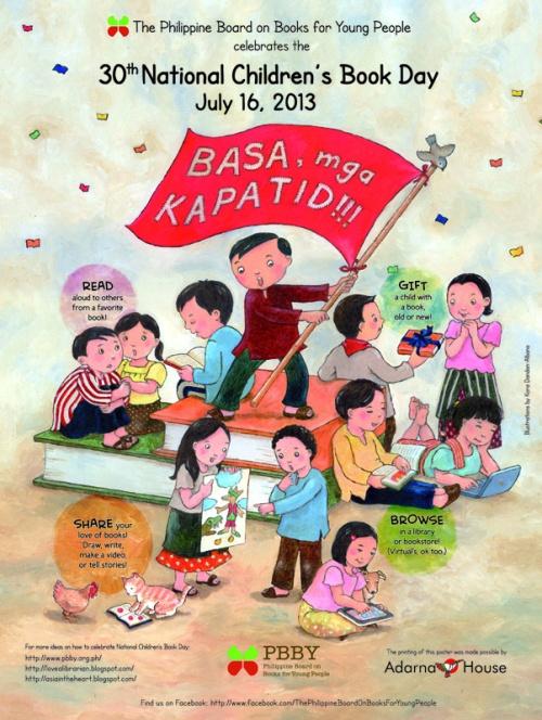 """Ang poster para sa ika-30 na National Children's Book Day na may temang """"Basa, Mga Kapatid!"""""""