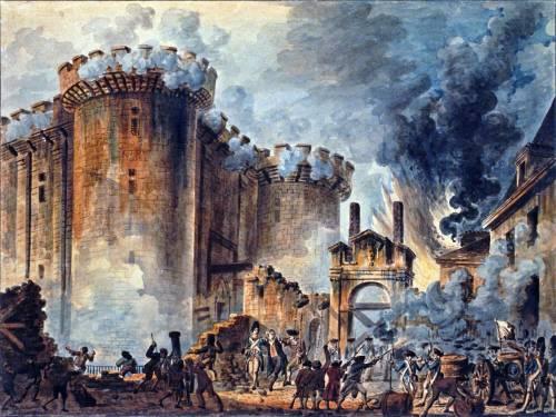 """Ang pagkubkob sa kulungang Bastille sa kalagitnaan ng Paris.  Mula sa Wikipedia:  """"The Storming of the Bastille"""", Visible in the center is the arrest of Bernard René Jourdan, m de Launay (1740-1789), Watercolor painting; 37,8 x 50,5 cm."""