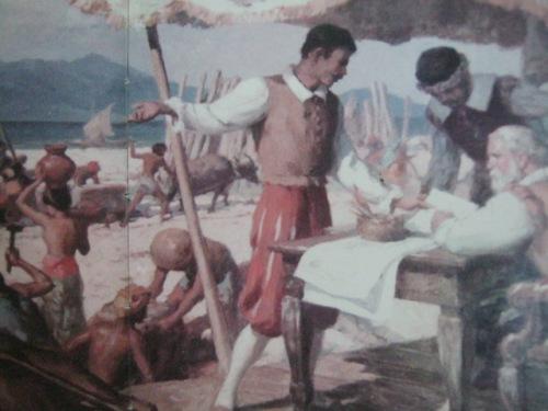 The Building of Intramuros.  Obra maestra ni Fernando Amorsolo.  Mula sa Pacto de Sangre.