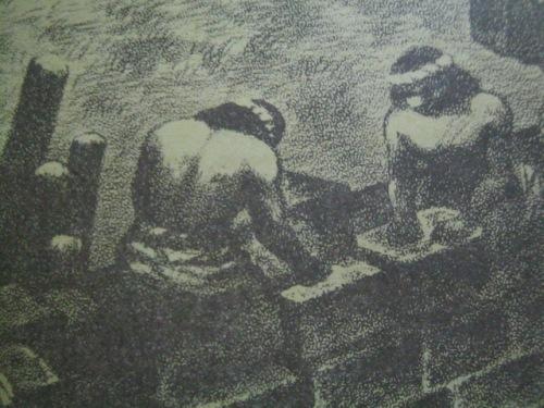 Ang pagtatayo ng mga indio ng Intramuros.  Iginuhit ni Norie Millare para sa Aklat Adarna.
