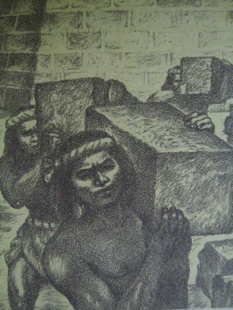 Ang pagbuhat ng mga indio sa batong adobeng gagamitin sa pagtatayo ng mga pader na nagmula sa Guadalupe sa San Pedro de Makati.