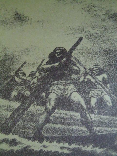Ang pagpapaanod ng mga troso sa mga dagat at ilof ng mga indio sa pagtatatag ng Intramuros.  Iginuhit ni Norie Millare para sa Aklat Adarna.