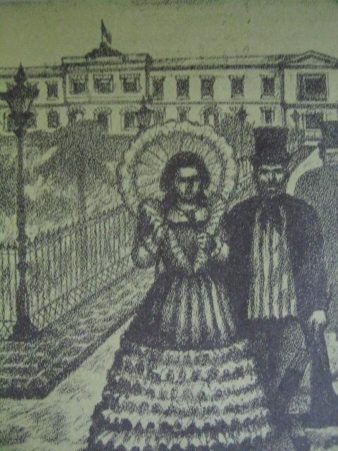 Ang mga mayayamang Espanyol ang siyang tumira sa Intramuros.  Nasa Plaza Mayor sila sa harapan ng Palacio del Gobernador.  Iginuhit ni Norie Millare para sa Aklat Adarna.