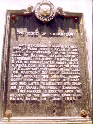 Marker para kay Rajah Kalantiaw sa Aklan.
