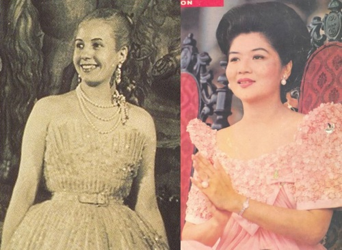 Si Evita at si Imelda bilang mga fashionista sa mga gowns.