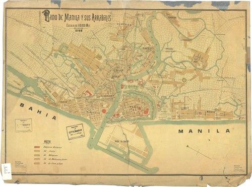 Mapa ng Intramuros at mga Arabales, 1898.