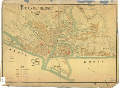 Mapa ng Intramuros at mga Arabales, 1898.