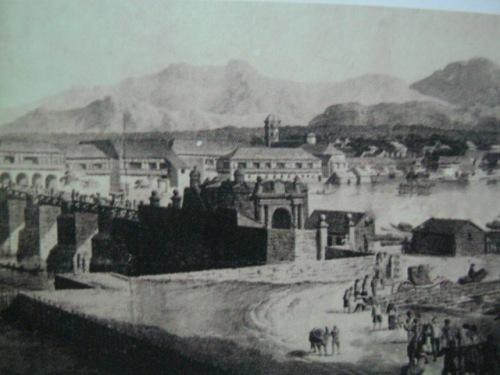 Ang mga pader ng Intramuros mula sa Binondo at ilog Pasig.  Mula sa Pacto de Sangre.