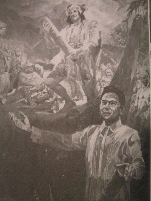 Si Marcos bilang tagapagmana ni Kalantiaw, ang pinakaunang tagapagbatas.  Obra ni Leonardo Cruz.