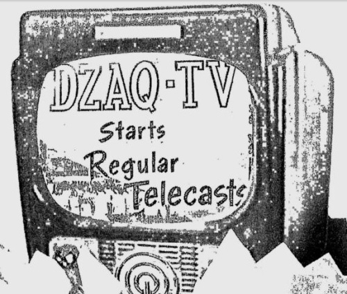 Pagsasalarawan ng unang broadcast ng DZAQ-TV (Mula sa ad ng ABS-CBN noong 2003 sa Philippine Daily Inquirer).