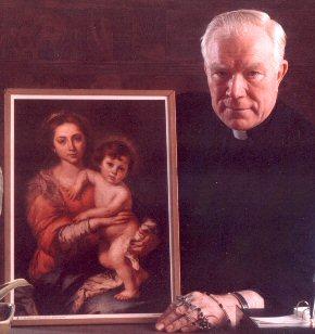 Fr. Patrick Peyton at ang paborito niyang larawan ng Madonna and the Child ni Bartolome Esteban Murillo (nasa Galleria Palatina, Florence, Italya).