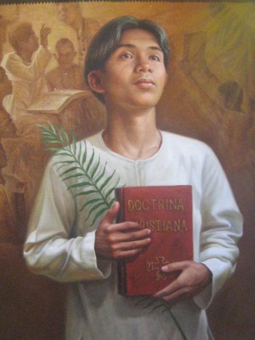 San Pedro Calúngsod, obra na nasa Ristorante delle Mitre, kantina ng CBCP, sa Intramuros, Maynila.  Kuha ni Xiao Chua.