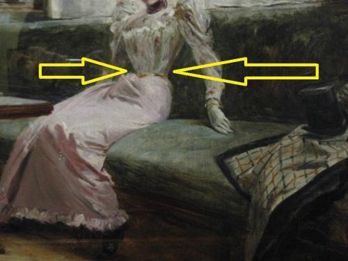 Ayon sa mga nagbasa ng obra maestra, anatomically impossible 12-inch waist ay kakatwa kung ginawa ng isang bihasang master painter (pero siyempre sa corsette, posible noon).  Kuha ni Xiao Chua.