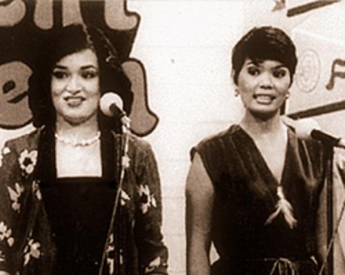 """Mga host ng """"Student Canteen"""" kasama ni Eddie Ilarde, sina Connie Reyes at Helen Vela."""