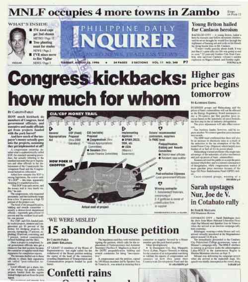 Ang frontpage ng pagbubunyag ni Kongresista Romeo Candazo noong 1996.  Mula sa Philippine Daily Inquirer.