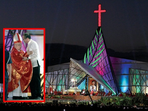Isang milyong tao ang dumalo sa misang pasasalamat para kay San Pedro Calúngsod na ginanap sa Lungsod ng Cebu at pinangunahan ni Ricardo Cardinal Vidal at Pangulong Noynoy Aquino, November 29, 2013.  Mula sa Philippine Daily Inquirer.