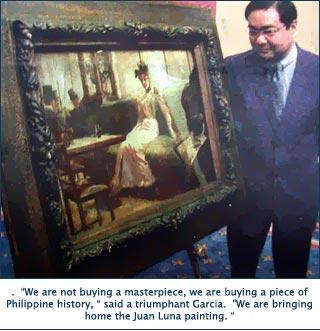 """Ang dating Pangulo ng GSIS WInston Garcia matapos na mabili para sa GSIS ang obra maestrang """"Parisian Life"""" ni Juan Luna.  Mula sa Philippine Daily Inquirer."""