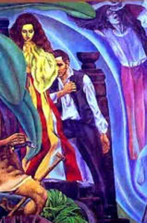 """Si Elias, si Maria Clara at si Crisostomo Ibarra.  Obra maestra ni Carlos """"Botong"""" Francisco."""