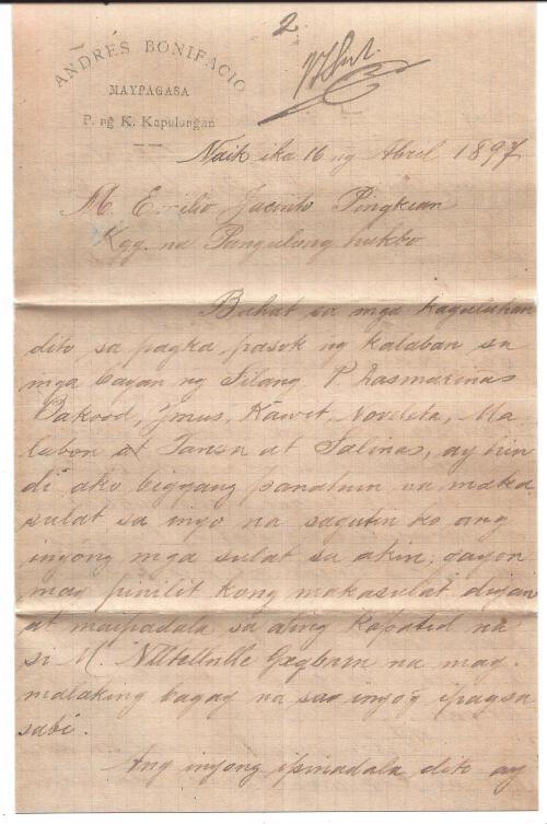 1897-04-16 Bonifacio to Jacinto page 1